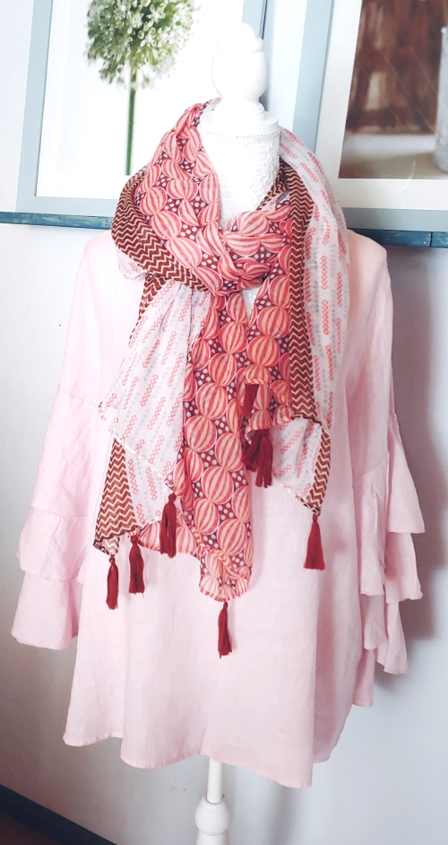 Bypias-Bluse-Trompetenärmel-rosa-Schal